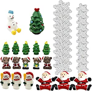 JUNKE 39 PCS Miniature Christmas Miniature Ornament Kit DIY Fairy Garden Dollhouse