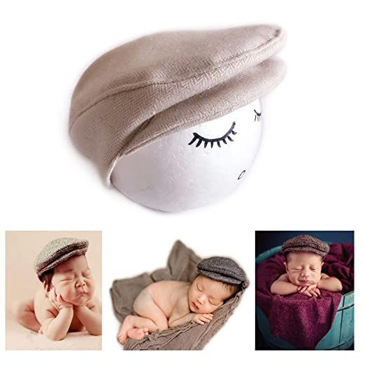 1b9f11ebc6f Amazon.com  Vemonllas Fashion Newborn Boy Girl Costume Outfits Baby Photo  Props Hat Gentleman Cap (Beige)  Clothing