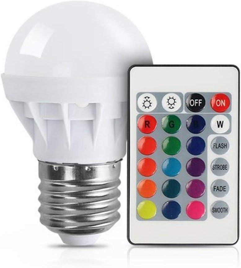 3W RGB LED Bombilla Colorida E27 Multicolor Dimmer Bombilla Lámpara Control remoto inalámbrico de interior para la fiesta de Navidad Boda (Blanco) Jasnyfall