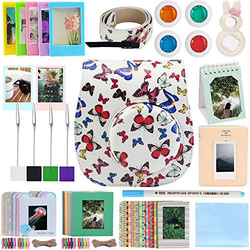 - Katia Instant Camera Accessories for Fujifilm Instax Mini 9 or Mini 8 Instant Film Camera. (Fuji mini 9 Case with strap, Photo Album, Frame, Selfie Len, Filters, Stickes & more) - (Butterfly)