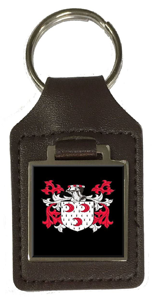 Sims Family Crest Surname Coat Of Arms Brown Leather Keyring Engraved