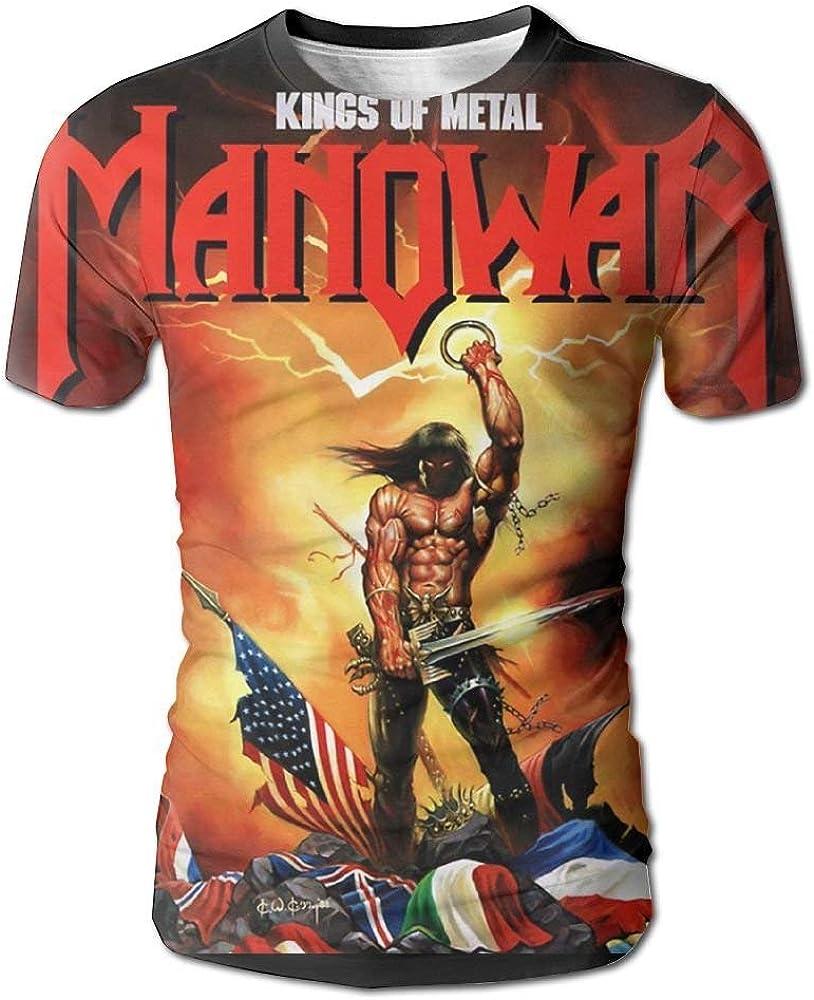 Trikahan Manowar-Kings of Metal - Camiseta de Manga Corta para Hombre - Blanco - Medium: Amazon.es: Ropa y accesorios
