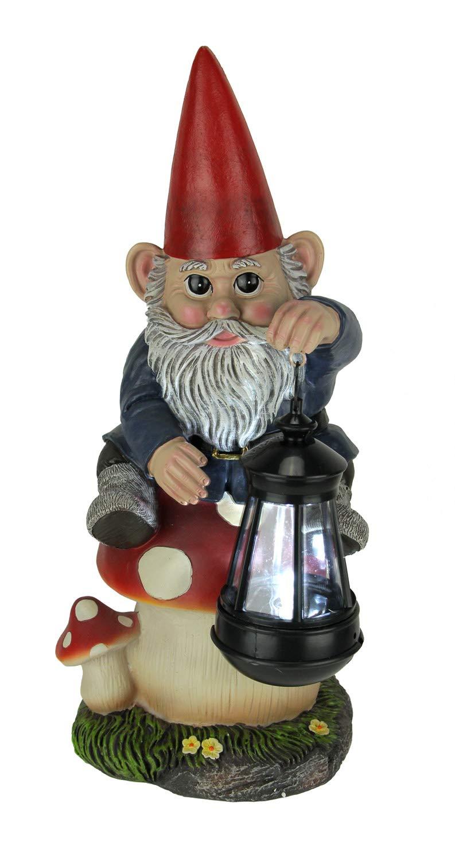 World Of Wonders Garden Gnome On Mushroom LED Solar Powered Outdoor Lantern Statue