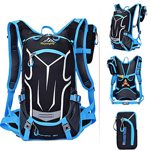 18L Hydration Pack, Cycling Riding Camping Breathable Water-resistant Ultralight Outdoor Sports Hiking Lightweight water backpack (BLUE)