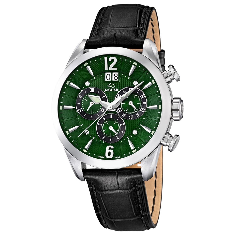 JAGUAR Herren-Armbanduhr Sport analog Leder-Armband schwarz Quarz-Uhr Ziffernblatt dunkelgrÜn UJ661-3