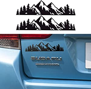 "HANBAO Vinyl Mountain Decal, Tree Sticker for car/Truck Tail gate/Laptop Decal/Trunk Badge Emblem Outdoor Bumper Stickers (8"" Black)-2 PCS"