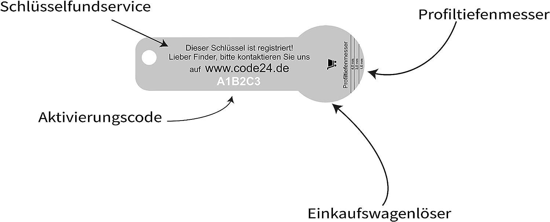 Code24 Einkaufswagenl/öser /'Ostfriese/' Registriercode f/ür Schl/üsselfundservice Praktischer Einkaufschip Schl/üsselanh/änger mit dem Ostsee Motiv /& Schl/üsselfinder Anh/änger inkl Key-Finder