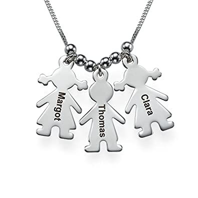 a81be0cb92405 Amazon.com: Mother's Necklace Engraved Children Charms - Custom ...