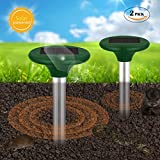 FitMaker Solar Powered Mole Repellent, Solar Repel Mole Chaser Mole Gopher Vole Repeller Spikes for Yard Lawn Garden Waterproof (Updated Version)