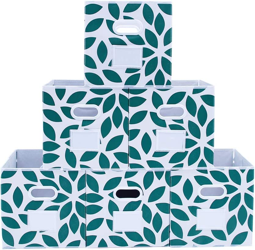 MAX Houser Fabric Storage Bins Cubes Baskets Containers with Dual Plastic Handles for Home Closet Bedroom Drawers Organizers, Foldable, Set of 6 (Green)