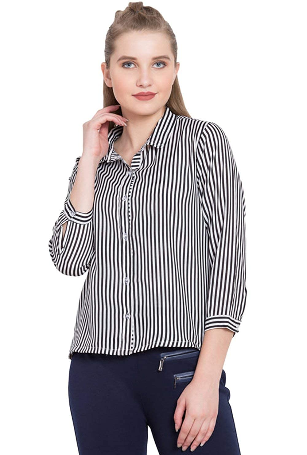 5dad0cf51 YoGalz Women Blue American Crepe Casual Full Sleeve Shirt. (SKU : 8529):  Amazon.in: Clothing & Accessories