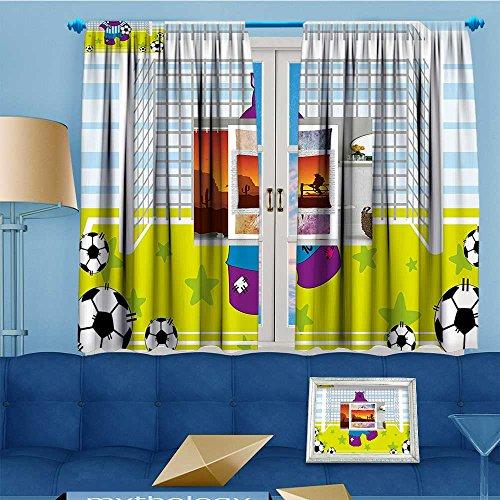 Mikihome 2 Panel Curtains Sports Hippopotamus Soccer Goal Keeper Football Print Apple Green Baby Blue Linen Window Curtains Grommet Top 72