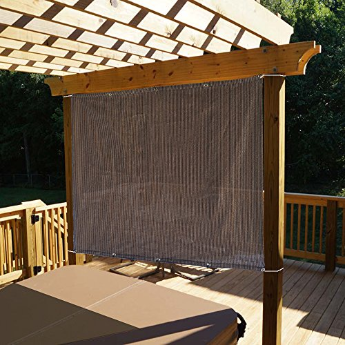 Alion Home Sun Shade Panel Privacy Screen with Grommets on 4 Sides for Outdoor, Patio, Awning, Window Cover, Pergola or Gazebo -200 GSM (8' x 6', Mocha (Knitted Shade Panel)
