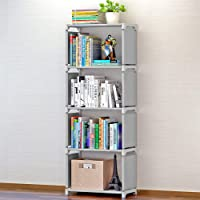 Sterling Plastic Home Book Shelf 4 Layers ,Powder Coated Finish,Set of 1,Grey