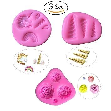 Unicorn - Moldes de silicona para repostería, fondant, jabón de chocolate, silicona, rosa, 3 Set: Amazon.es: Hogar