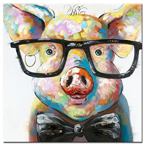 Fokenzary Hand Painted Cute Pig with Glasses Pop Wall Art Canvas Painting Framed Ready to Hang