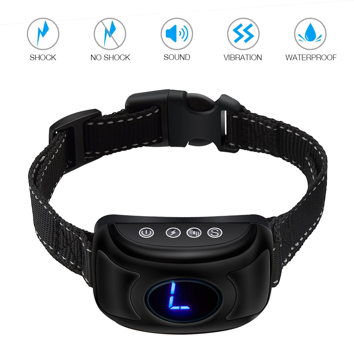 isYoung Bark Collar No Shock Bark Control with Sound and Vibration,Harmless and Humane,2018 Upgraded Rechargeable No Bark Collar with Smart Chip for Small Medium Large Dogs(Black)
