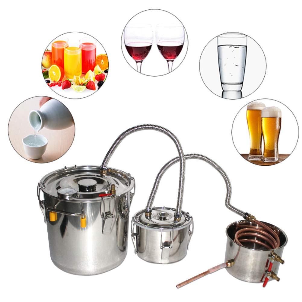 MOPHOTO Water Alcohol Distiller, Moonshine Still Kit Complete with Themper, Stainless Steel Distilling Copper Tube for Home Brewing Wine Making, Inbuilt Thermometer Valve (5GAL/20L-Triple Barrels)