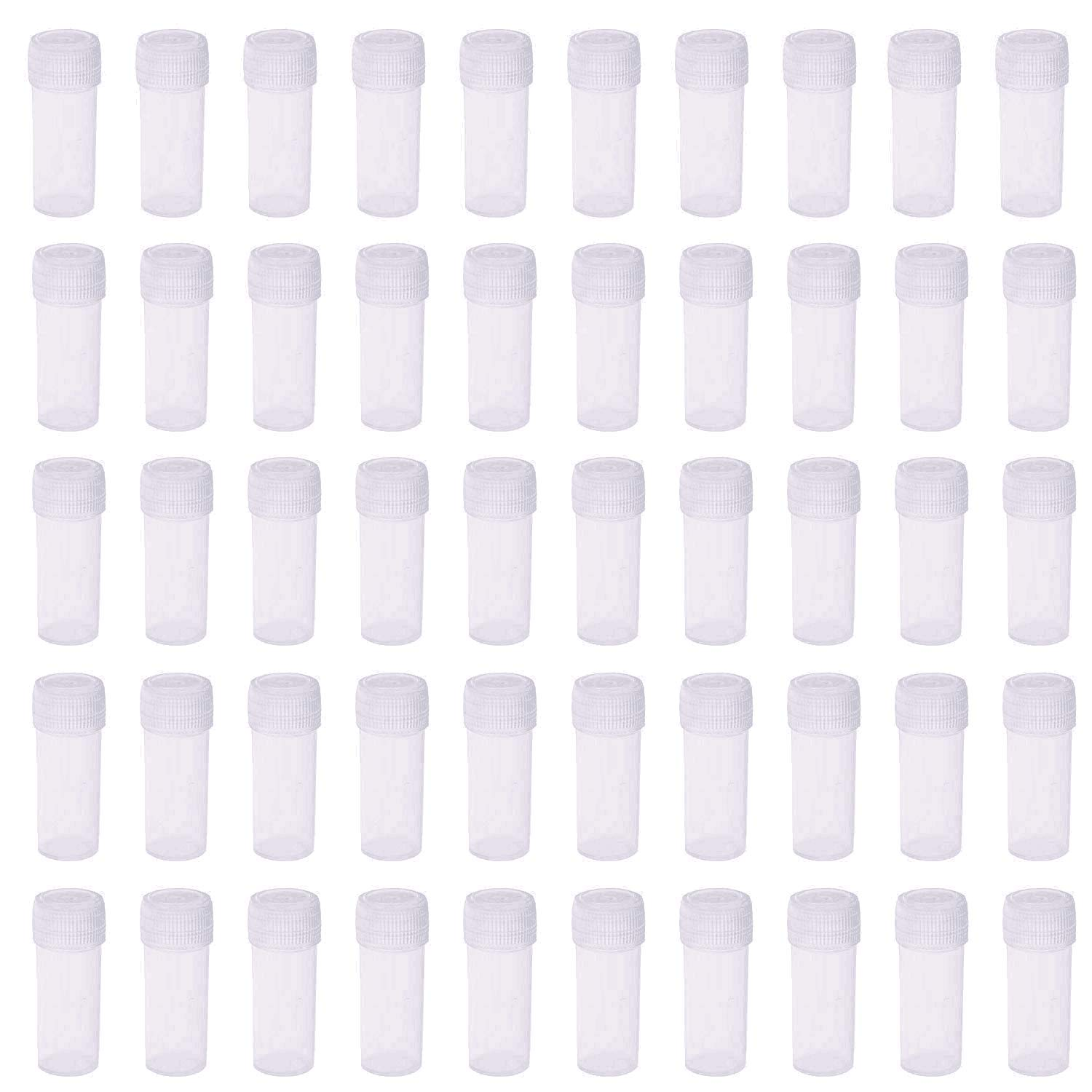 5ml Plastic Test Tubes Small Bottle Vial Storage Vial Storage Container for Lab -50pcs