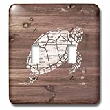 3dRose Russ Billington Nautical Designs - White Painted Turtle on Brown Weatherboard- Not Real Wood - Light Switch Covers - double toggle switch (lsp_261842_2)