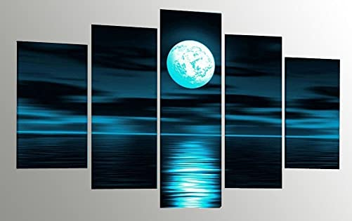 Sweety Decor Blue Moon Handmade Oil Painting Ocean Landscape Canvas Wall Art for Home Living Room Decor Small, Blue