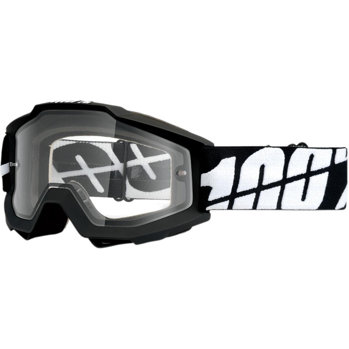 f90af7c5220 Amazon.com  100% Accuri Men s Off-Road Dirt Bike Motorcycle Goggles Eyewear  - Black Tornado Clear Dual Lens   One Size  Automotive