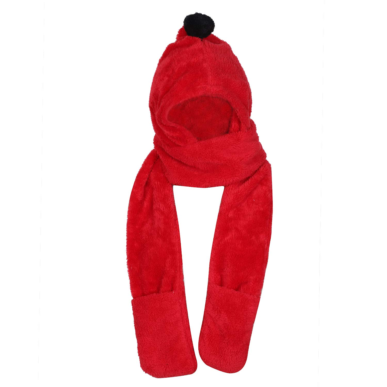 Children Cute Hooded Scarf Hats Gloves 3-In-1 Set Thermal Fleece Beanie Hat Earflaps Long Plush Scarfs Ski Snowboarding Hat Mittens with Pompom for Kids Over 3 Years Old Best Birthday Christmas Gift