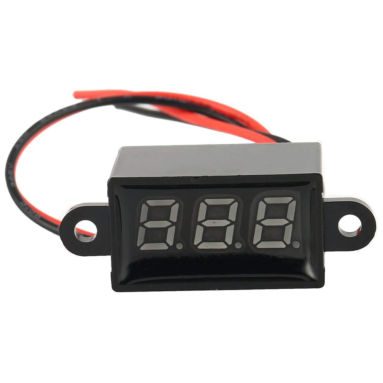 Lorenlli DC 3V-30V 2-Wire LED Digital Display Panel Voltmeter Electric Voltage Meter Volt Tester for Auto Car Motorcycle Battery Cart