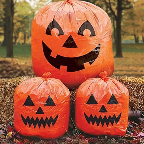 Amscan Halloween Pumpkin Lawn Bag Decorations x 3