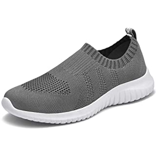 LANCROP Women's Lightweight Walking Shoes - Casual Breathable Mesh Slip on Sneakers 9.5 US, Label 41 Dark Grey