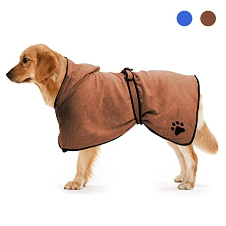 Zellar Toalla para Perros con Capucha Ajustable, de Microfibra de Secado rápido súper Absorbente (