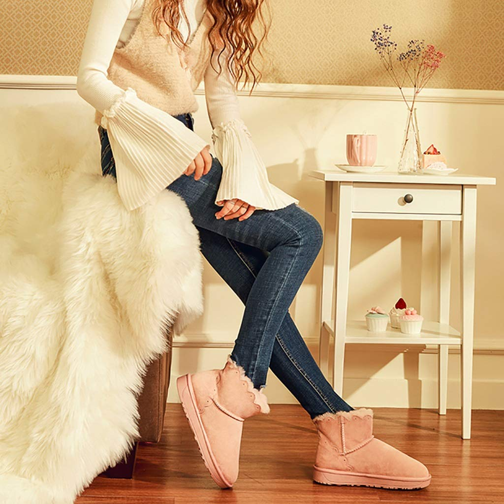 YUBIN Rutschfeste Winter-Schneestiefel Damen-Plus-SAMT-Lässige Damen-Plus-SAMT-Lässige Damen-Plus-SAMT-Lässige Stiefeletten Farbe  Rosa (Farbe   Rosa größe   EU 38 US 6 UK 5 JP 24cm) c24dbf