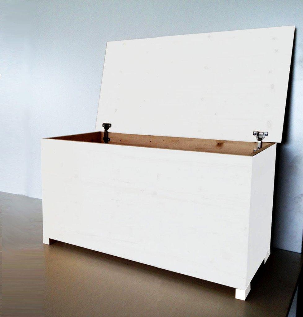 Amico Legno Cassapanca in multistrato con cerniera interna Cod 58 80x45x47 Smalto Ad Acqua Colore Bianco