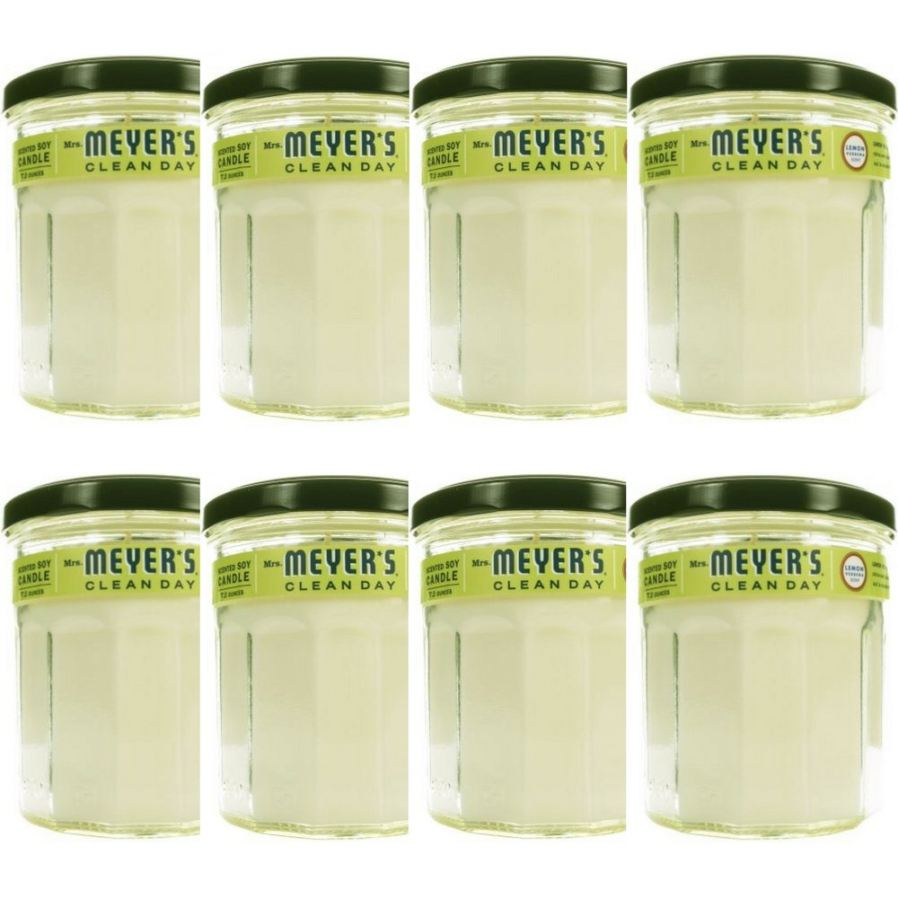 MRS MEYERS Soy Candle Large, Lemon Verbena, 7.2 Ounce (Pack of 8)