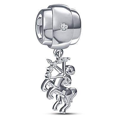b2d3d296f Lilu Jewels .925 Silver Zodiac Sagittarius Horoscope Charm for Pandora  Biagi and Chamilia Charm Bracelet (White): Amazon.co.uk: Jewellery