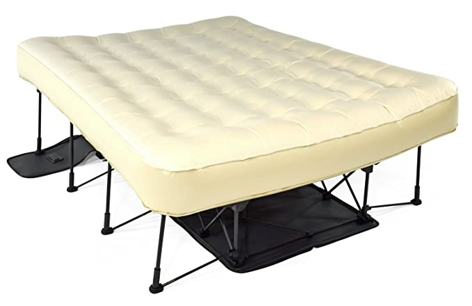 Ivation EZ-Bed (Queen) Air Mattress with Frame & Rolling Case, Self Inflatable, Blow Up Bed Auto Shut-Off, Comfortable Surface AirBed, Best for Guest, ...