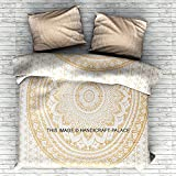 """Exclusive Gold Mandala duvet cover with pillowcases By """"Handicraftspalace"""" bedding, duvets, bedroom decor, boho comforter cover 100% Cotton Handmade Hippie King Size Duvet Set"""