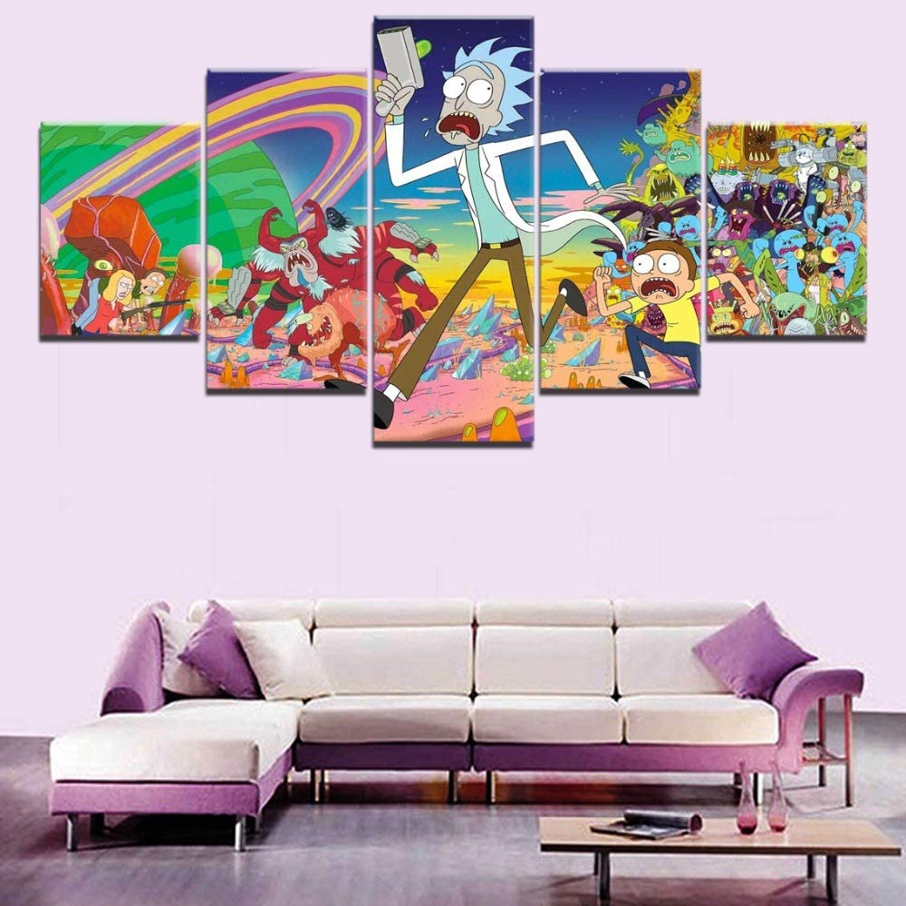 Abstract Canvas Art Poster Style 5 Panel Imágenes de Pared de Comedia Animada para Sala de Estar Moderna en decoración de Pared: Amazon.es: Hogar