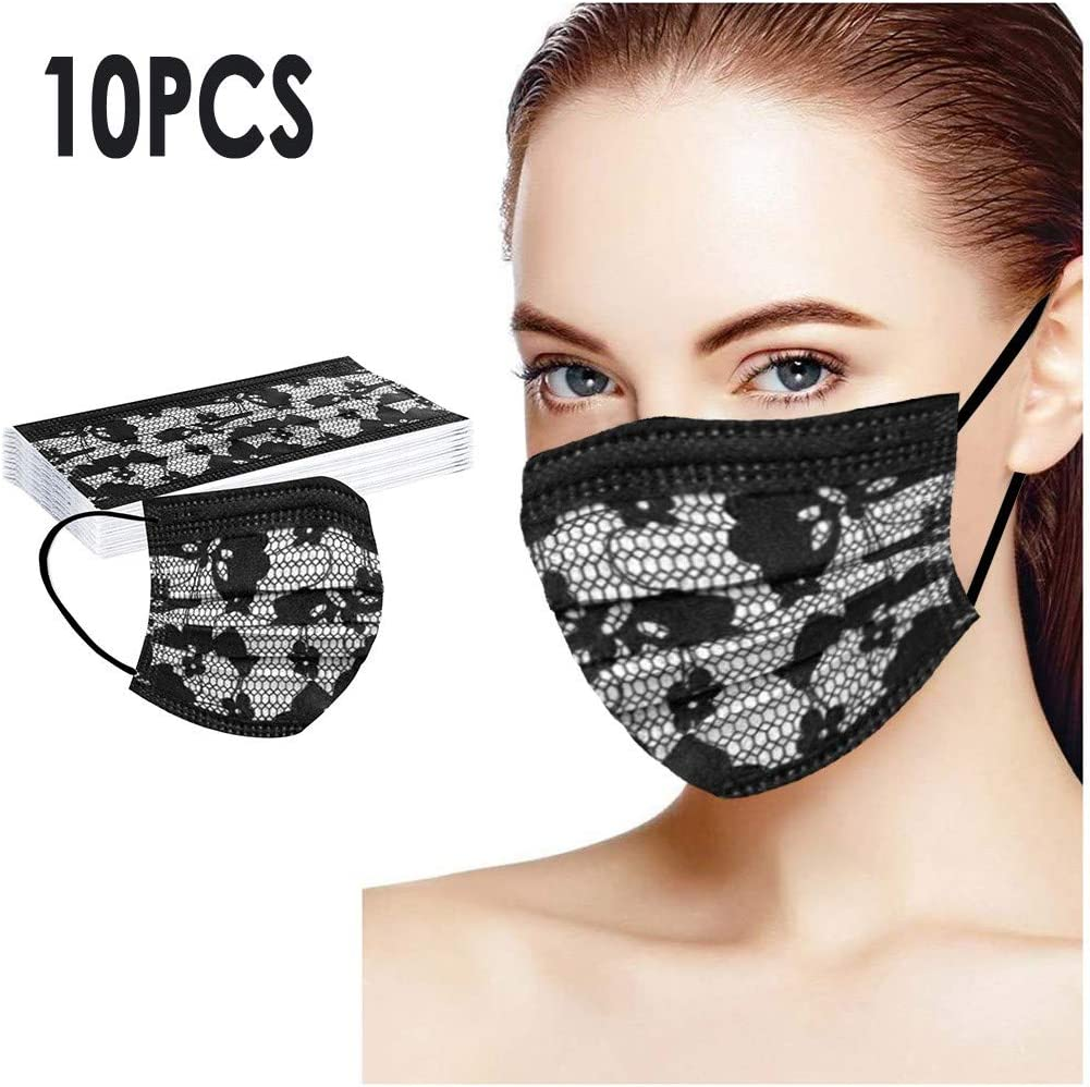 10 Piezas Negro Adulto Estampado de encaje Protecci/ón 3 Capas Transpirables con El/ástico para Los O/ídos