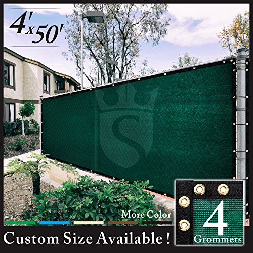 Royal Shade 4' x 50' Green Fence Privacy Screen Cover Windscreen, with Heavy Duty Brass Grommets, Custom Make Size