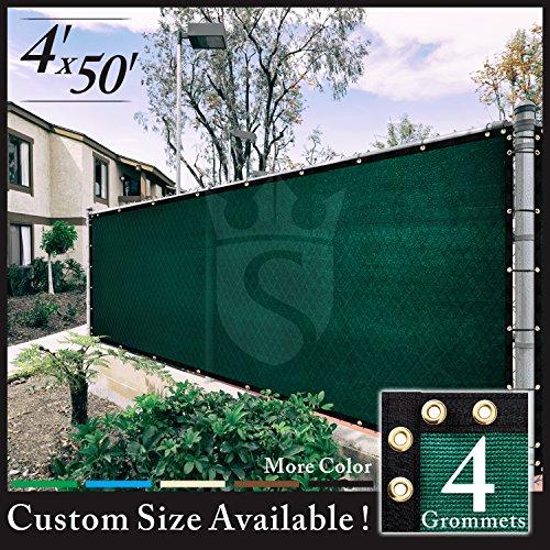 Royal Shade 4' x 50' Green Fence Privacy Screen Cover Windscreen, with Heavy Duty Brass Grommets, Custom Make Size (Custom Windscreen)