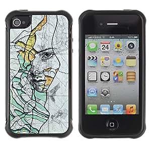 Suave TPU GEL Carcasa Funda Silicona Blando Estuche Caso de protección (para) Apple Iphone 4 / 4S / CECELL Phone case / / Rustic Deep Sad Meaning Teal /