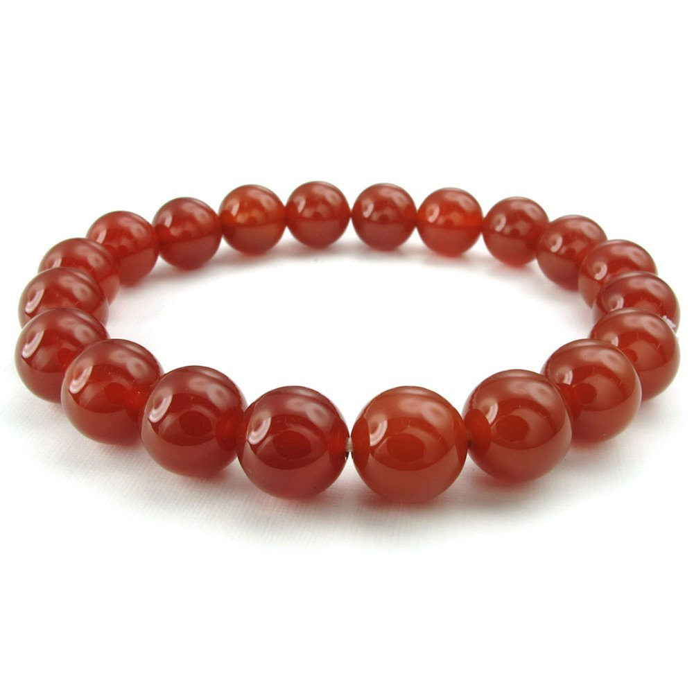 TEMEGO Jewelry Mens Womens 10mm Link Wrist Bracelet, Energy Stone Agate Buddha Mala Bead Bracelet, Red