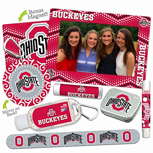 Ohio State Buckeyes—DELUXE Variety Set (Nail File, Mint Tin, Mini Mirror, Magnet Frame, Lip Shimmer, Lip Balm, Sanitizer). NCAA gifts, gift bag ideas, stocking stuffers. Only from Worthy. (Football Basket Ideas)