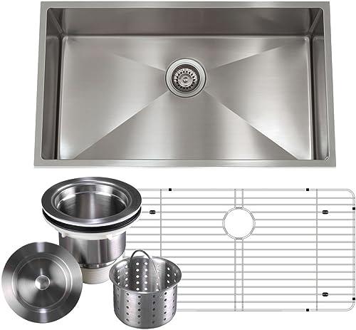 Unbeatable Value Package Deal 16 gauge Aquarius Undermount Single Bowl Stainless Steel Kitchen Sink Package Sink Grid Strainer