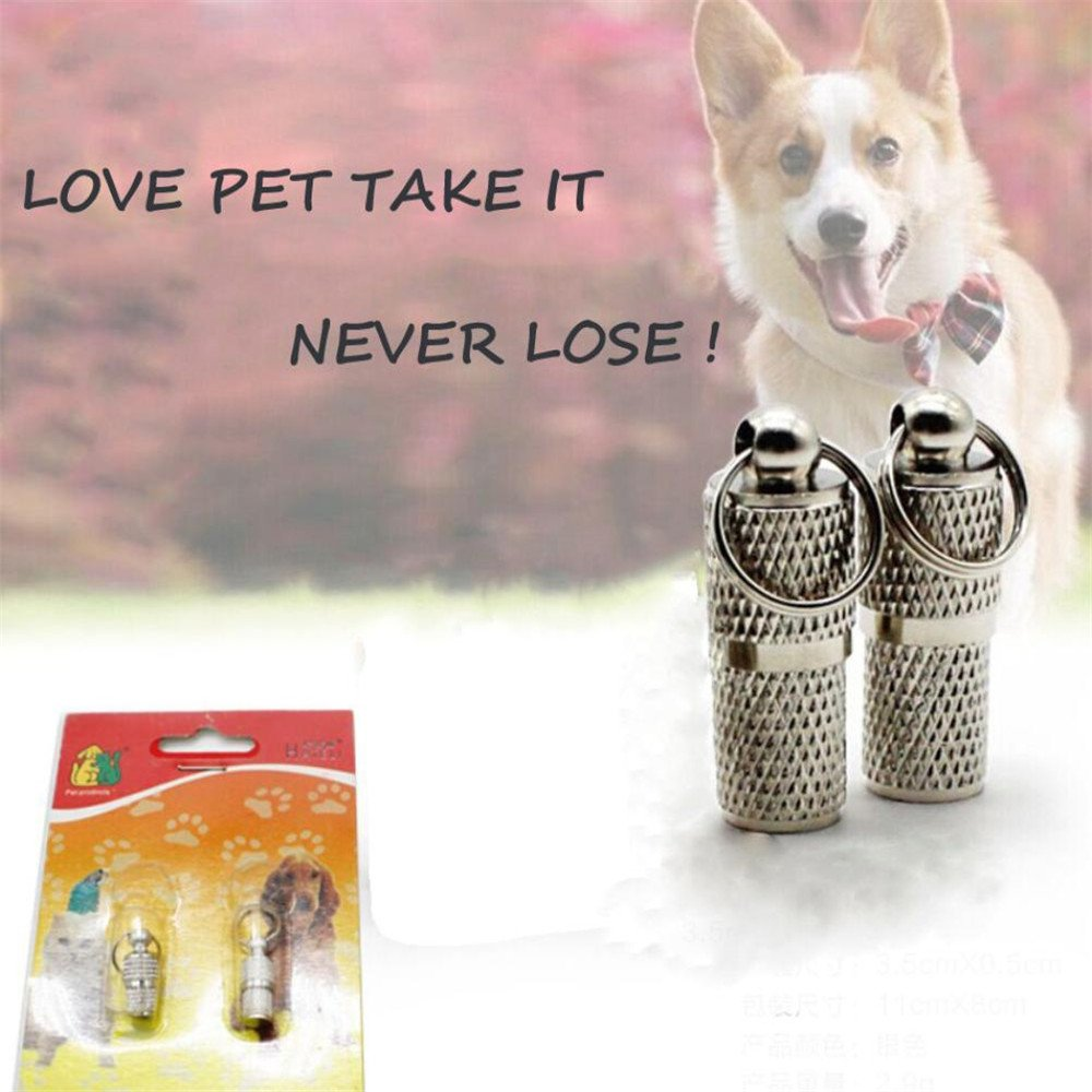 80%OFF Botrong Fashion 2Pcs Anti-Lost Pet Name Address Label Barrel Storage Tube Silver Pet ID Tags