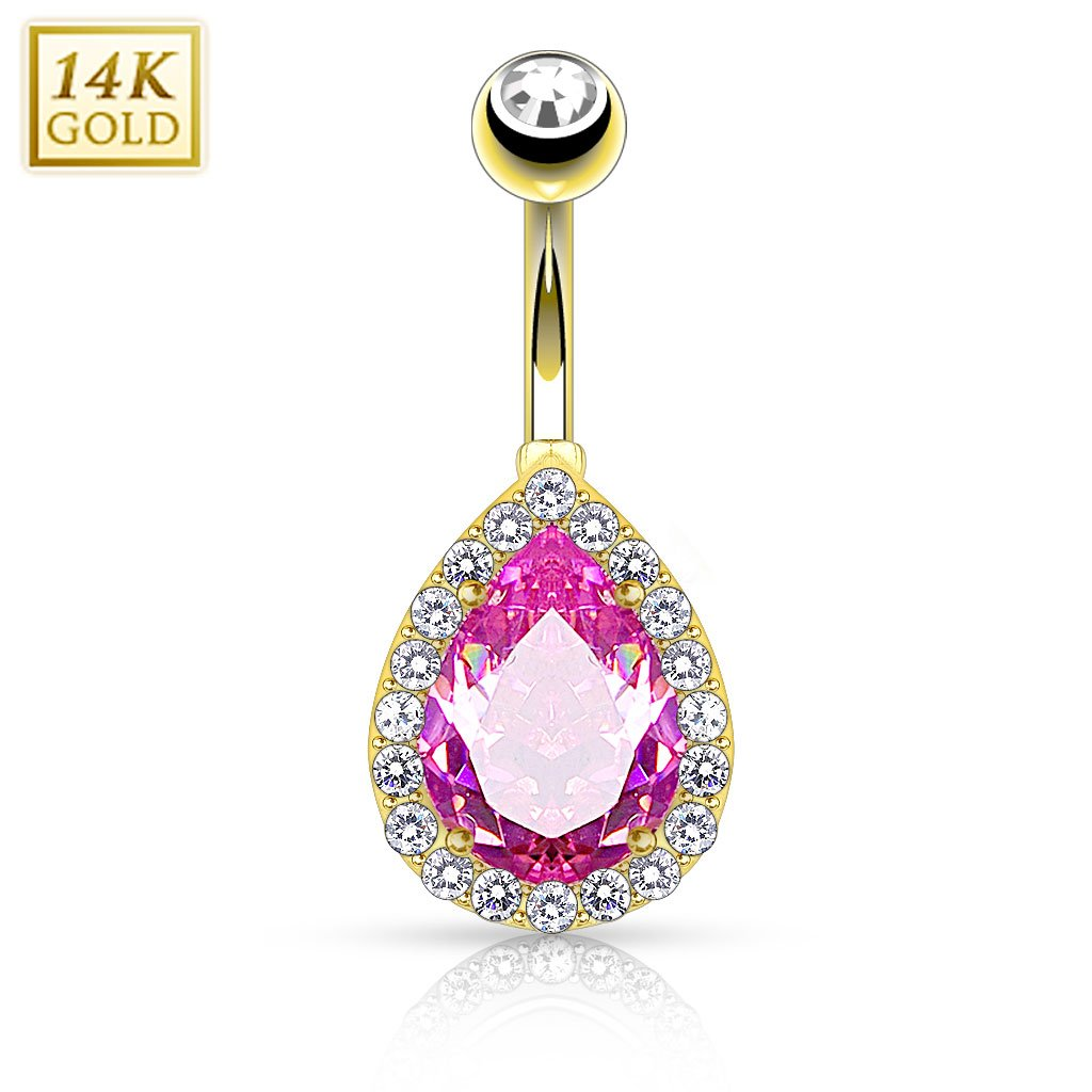 14K Yellow Gold Pear Shape Pink CZ Center Navel Ring Body Jewelry