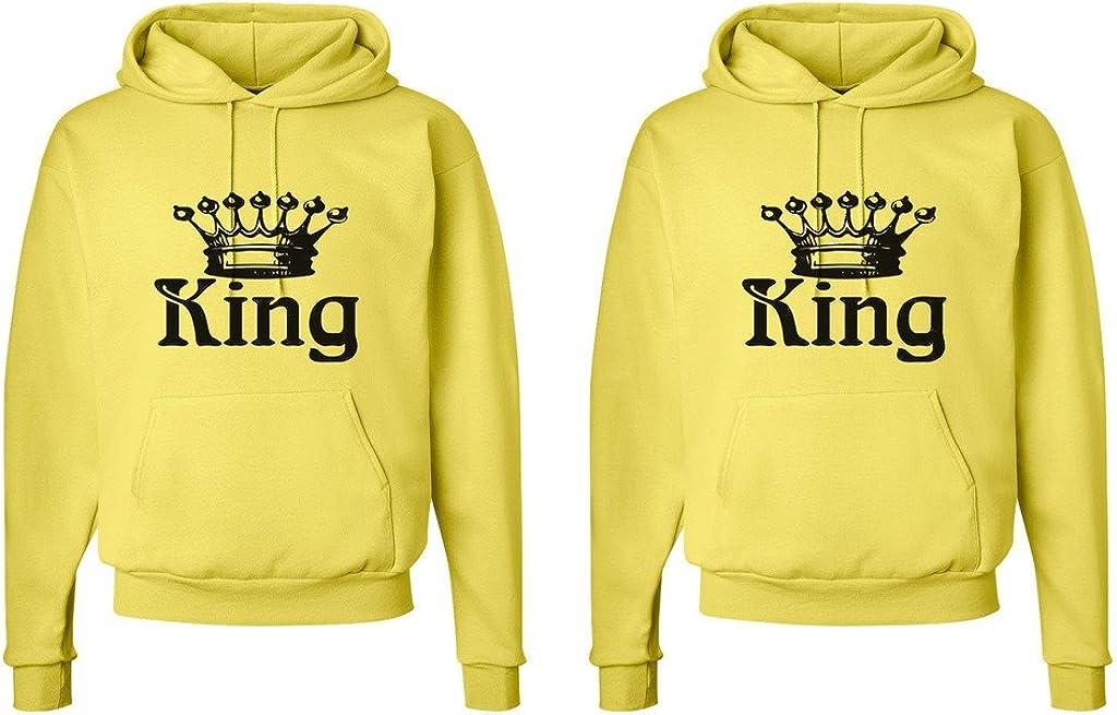 King and King Crowns FASCIINO LGBT Matching Gay Pride His /& His Couple Hooded Sweatshirt Set King Shirt #1: Large//King Shirt #2: XLarge Yellow