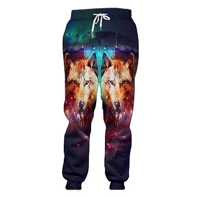 Starry Sky Animal Long 3D Impreso Colorful Fox Pantalones De ...