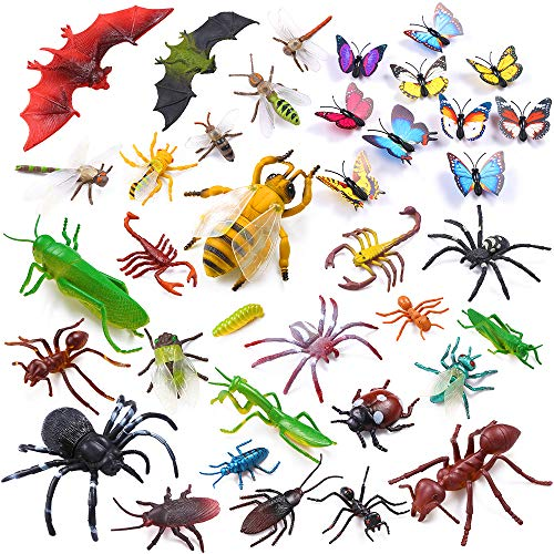 Auihiay 36 Pack Large Plastic Insect Figures Toys Assorted Insect Bugs Includes Multicolored Lifelike Butterfly for Children Education, Insect Themed Party, Halloween Toys and Birthday Gifts -